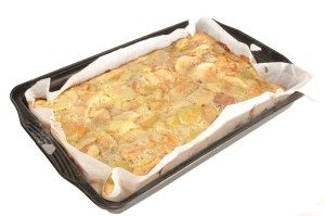 Siliconised vegetable Parchment Paper used to bake a pie.